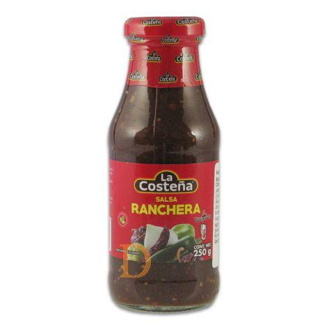 Salsa Ranchera La Costeña 220ml - dunkle, mittelscharfe Sauce mit Pasilla Chilis
