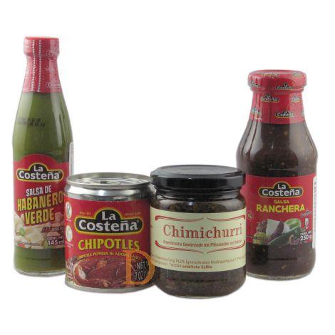 Grillsaucen-Set Chili Chipotle + Salsa de Habanero Verde + Salsa Ranchera + Chimichurri Delicatino 200g Glas