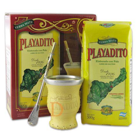Mate Set Playadito Vidrio (Matebecher aus Glas + Bombilla Alpaca + Playadito 500g)