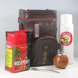 Matera Simil Cuero Marrón Aconcagua – Tasche für Mate Tee aus braunem Kunstleder