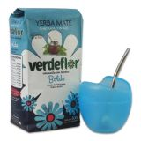 Kombi-Angebot Mate Mateo Vetro blau + Verdeflor Boldo 500g